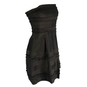 Strapless Cocktail Dress Brown Taffeta Party Prom